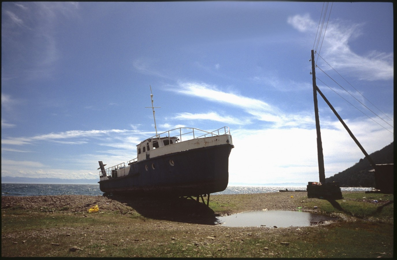 Old ship on the shores of Bolshoije Koti, Lake Baikal