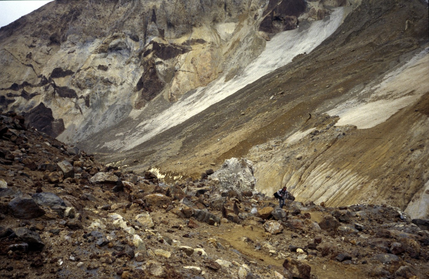 Climbing the active Mutnovki vulcano, Kamshatka