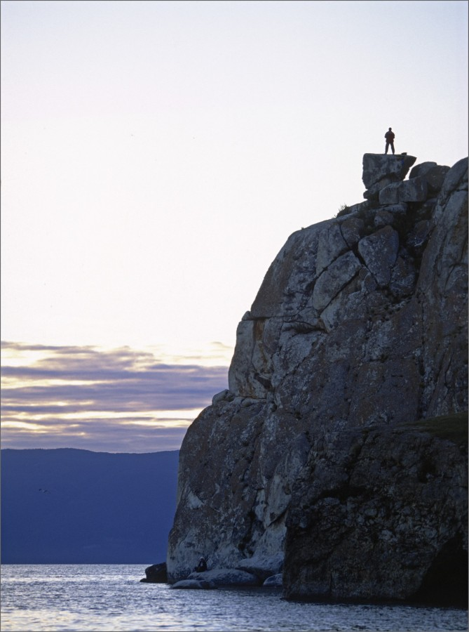 Man on the rocks, Ohklon, Lake Baikal