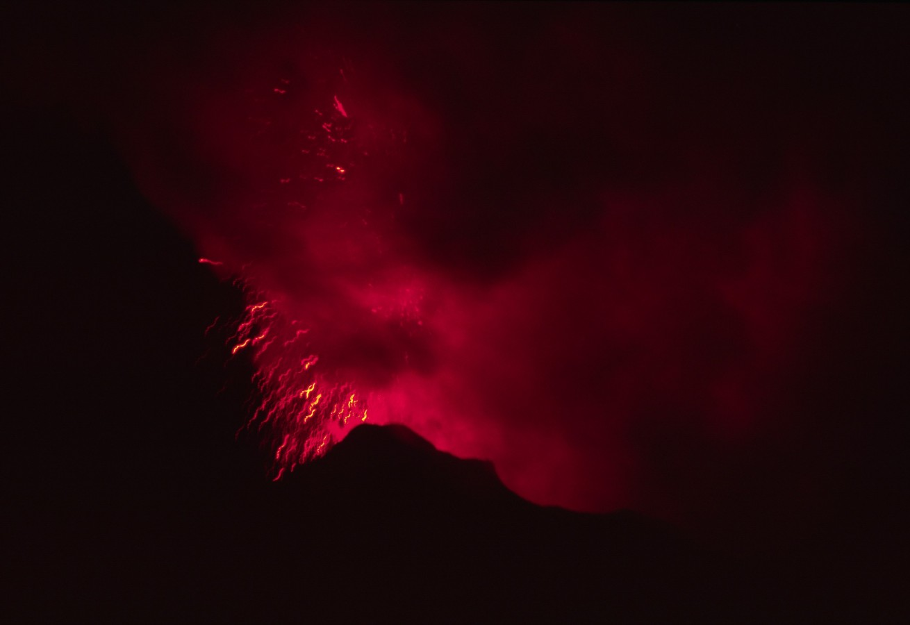 The Stromboli vulcano, active fireworks at the top after sunset