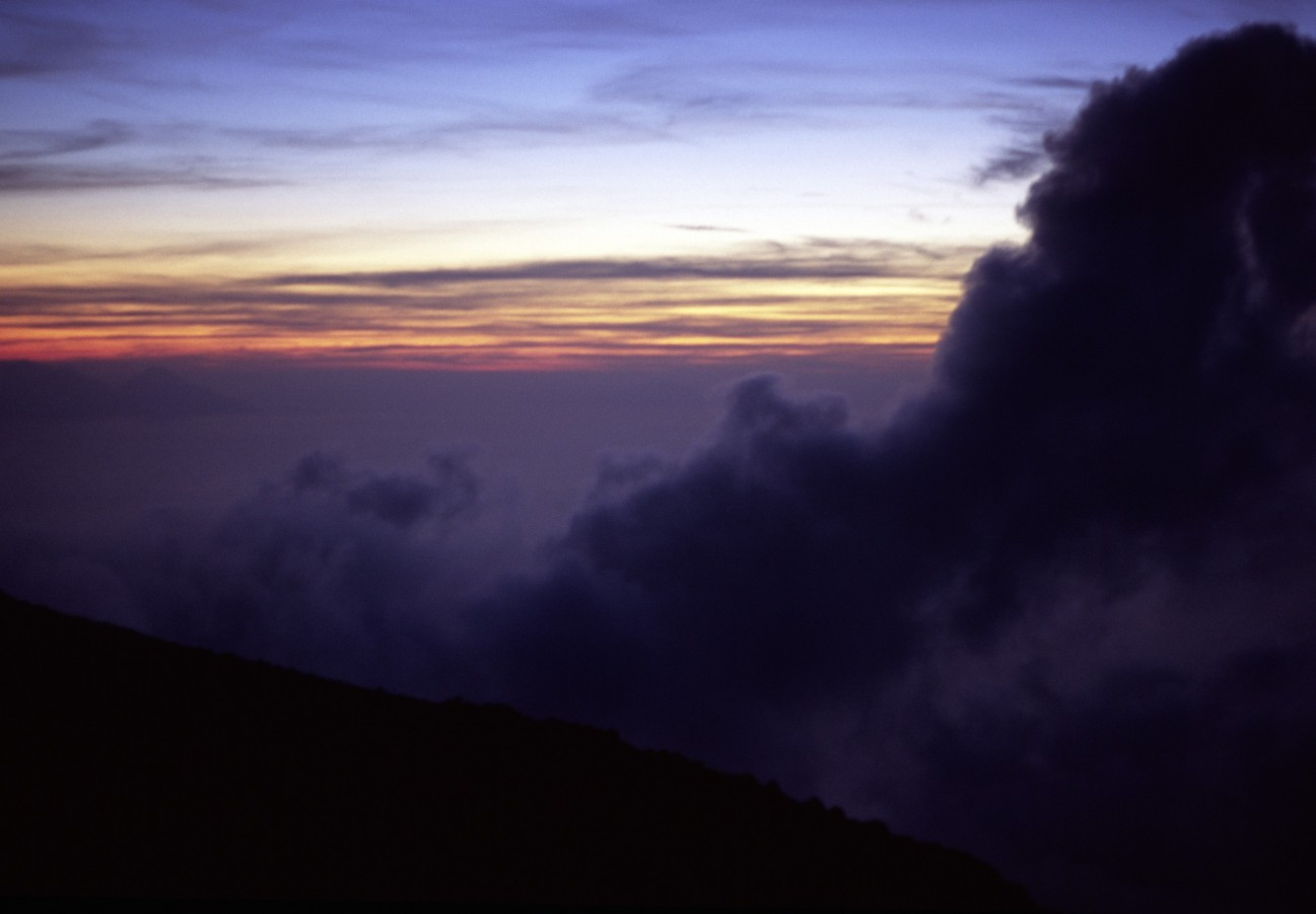 The Stromboli vulcano at sunset