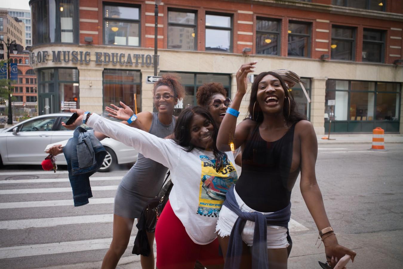 Friends, downtown Detroit